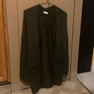 Altar'd State Olive Green Fuzzy Cardigan